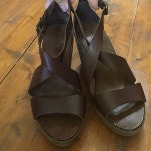 J. Crew leather wedge sandal. Size 9! EUC!